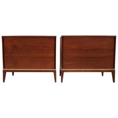 Pair of Teak and Brass John Stuart Dressers