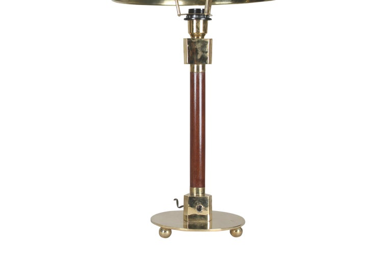 20th Century Pair of Teak and Brass Nautical Ship's Stateroom Table Lamps For Sale