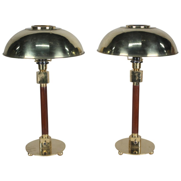Pair of Teak and Brass Nautical Ship's Stateroom Table Lamps For Sale