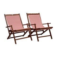 Pair of Teak and Canvas Folding Chairs by Royal