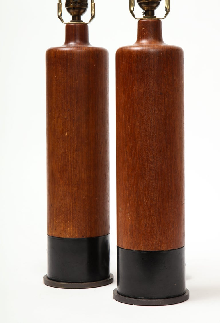 Late 20th Century Pair of Teak and Leather Table Lamps, Denmark, circa 1970s For Sale