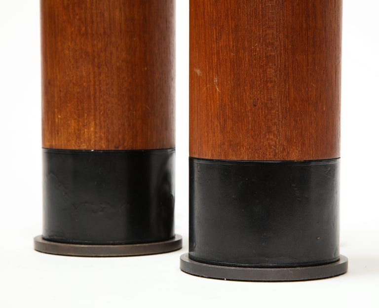 Pair of Teak and Leather Table Lamps, Denmark, circa 1970s For Sale 2