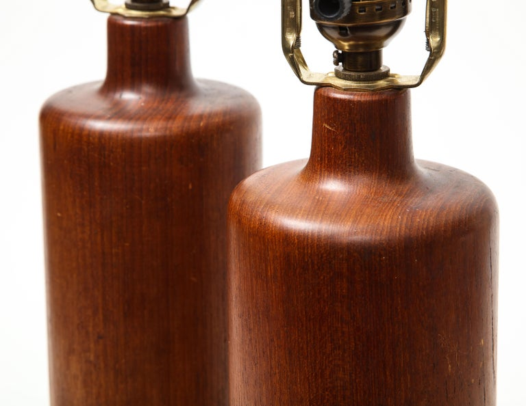 Pair of Teak and Leather Table Lamps, Denmark, circa 1970s For Sale 3
