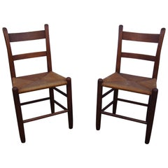 Pair of Teak and Rush Dining Chairs by Charles Webb
