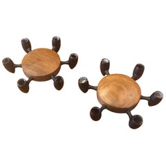 Pair of Teak and Steel Candleholders by Digsmed Designs