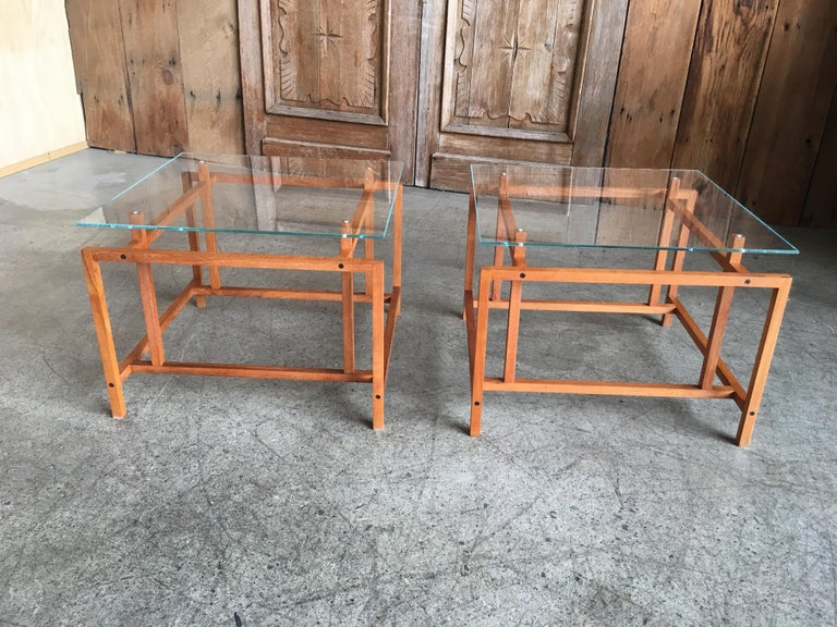 Pair of Teak Architectural Frame End Tables by Henning Norgaard For Sale 3