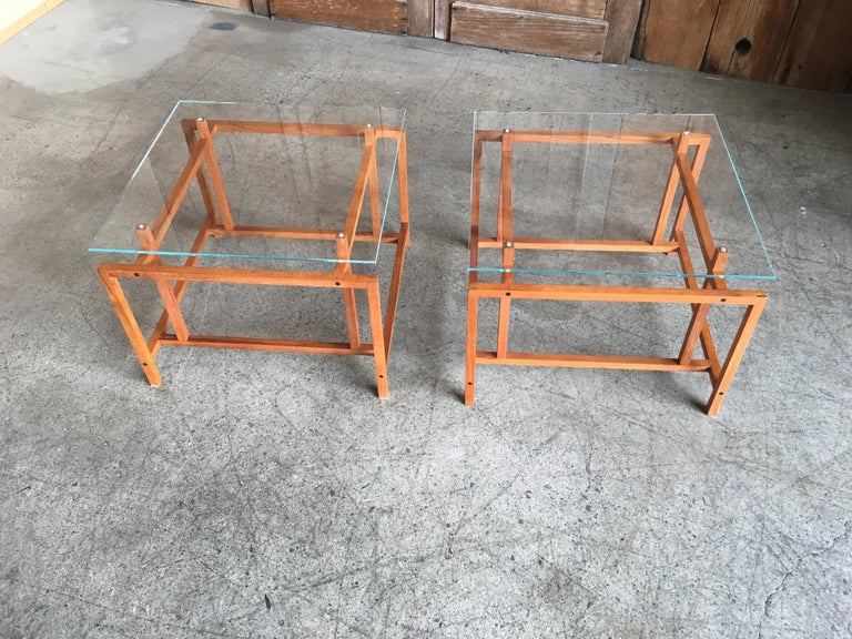 Pair of Teak Architectural Frame End Tables by Henning Norgaard For Sale 4