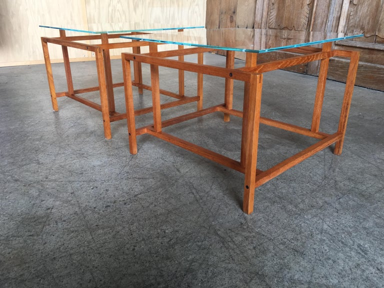 Mid-Century Modern Pair of Teak Architectural Frame End Tables by Henning Norgaard For Sale
