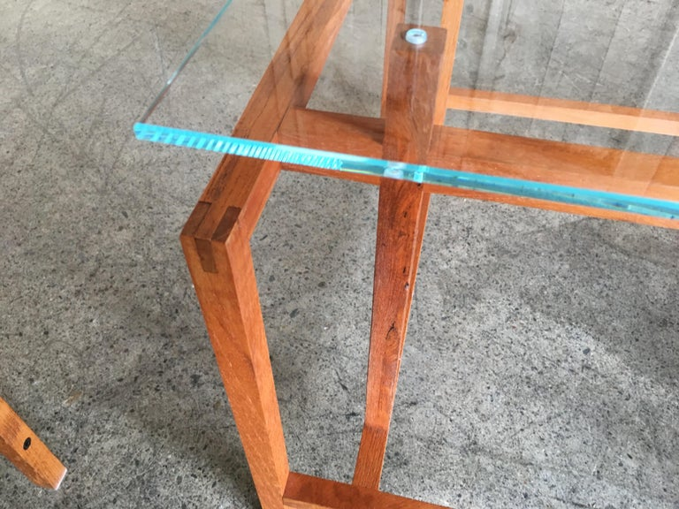 Joinery Pair of Teak Architectural Frame End Tables by Henning Norgaard For Sale