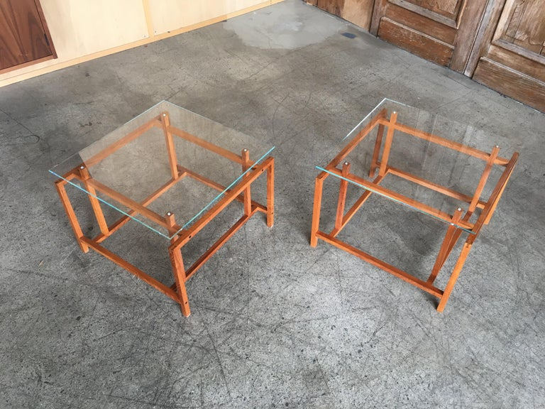 Pair of Teak Architectural Frame End Tables by Henning Norgaard In Good Condition For Sale In Laguna Hills, CA