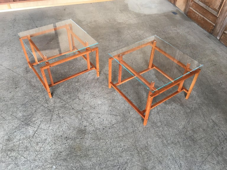 20th Century Pair of Teak Architectural Frame End Tables by Henning Norgaard For Sale