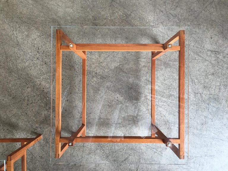 Pair of Teak Architectural Frame End Tables by Henning Norgaard For Sale 1