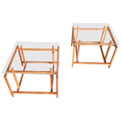 Pair of Teak Architectural Frame End Tables by Henning Norgaard