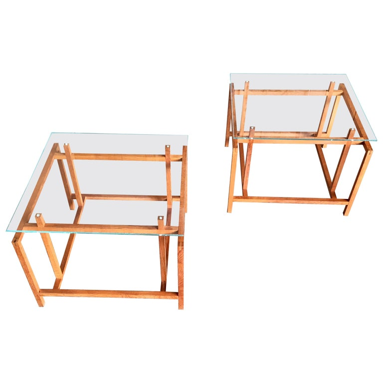 Pair of Teak Architectural Frame End Tables by Henning Norgaard For Sale