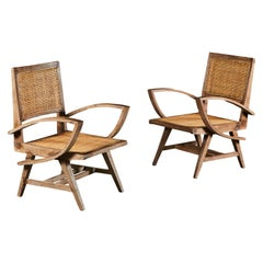 Pair of Teak Chandigarh Armchairs after Pierre Jeanneret with Caned Seats