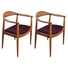 Pair of Teak Danish Dining Chairs by Hans Wegner / Hansen for Knoll Model JH501