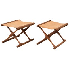 Pair of Teak Folding Gold Hill Stools by Poul Hundevad, Denmark, 1950s
