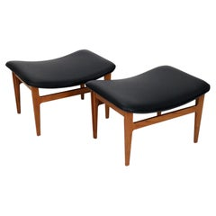 Footstools by Finn Juhl for France & Søn in Teak and New Black Faux Leather