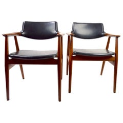 Pair of Teak Frame Danish Modern Armchairs by Grete Jalk