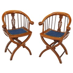 Pair of Teak Horseshoe Back Lounge Chairs