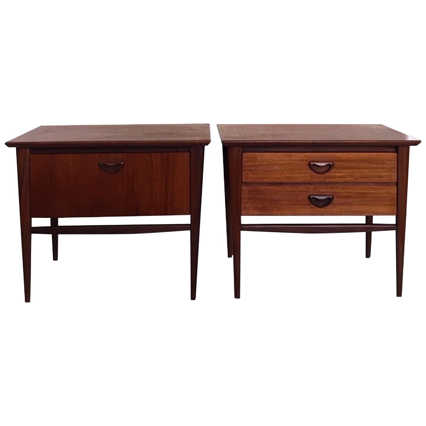 Pair of Teak Nightstands by Louis Van Teeffelen for Wébé, 1960s
