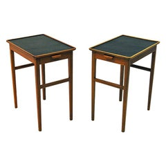 Pair of  Side Tables with Leather Tops by Bodafors, Sweden, 1950s