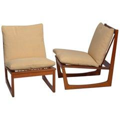 Pair of Teak Slipper Chairs by Jacob Kjaer
