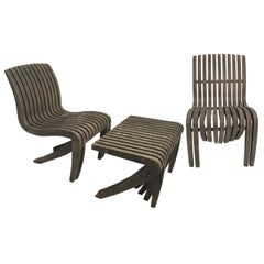 """Pair of Teak """"Spirit Song"""" Chairs and Ottoman by Robert Tiffany"""