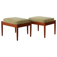Pair of Teak Stools with Suede Cushions, Denmark, 1960s