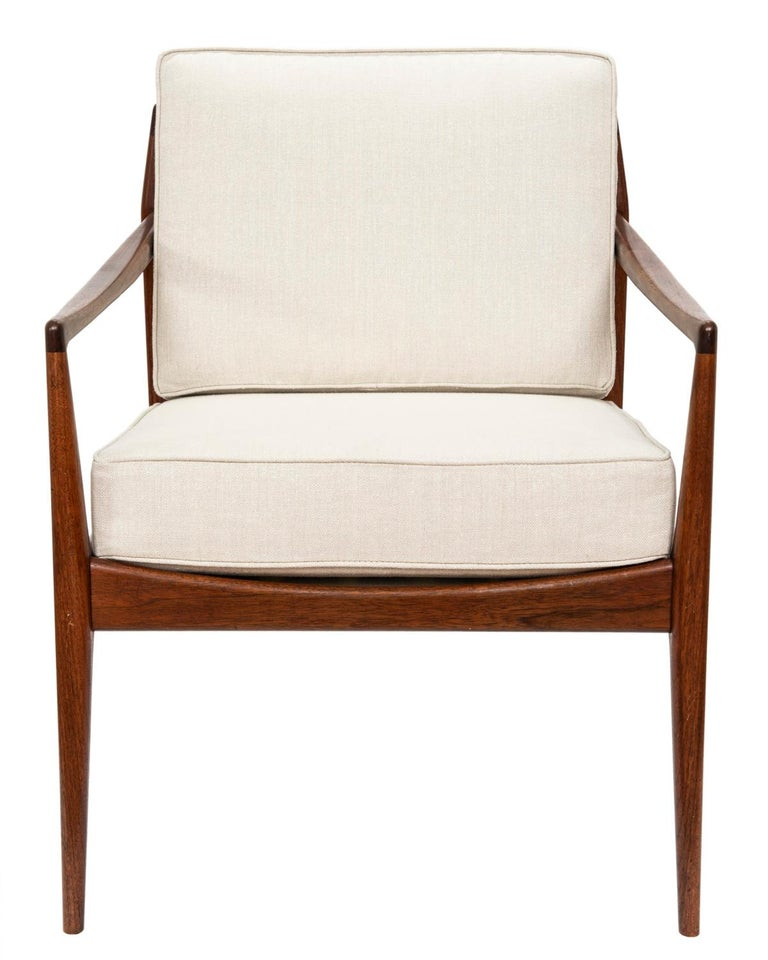 Hand-Crafted Pair of Teak Upholstered Armchairs Attributed to Ib Kofod-Larsen, circa 1960 For Sale