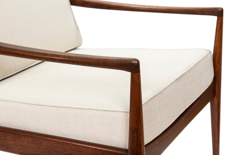 Mid-20th Century Pair of Teak Upholstered Armchairs Attributed to Ib Kofod-Larsen, circa 1960 For Sale