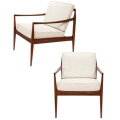 Pair of Teak Upholstered Armchairs Attributed to Ib Kofod-Larsen, circa 1960