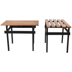 Pair of Teak Wood and Enamelled Metal Benches, Italy, 1960s