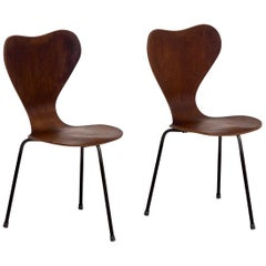 Pair of Teak Wood Chairs with Three Iron Legs, Danish Architect, 1960s