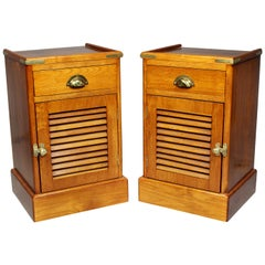 Pair of Teakwood Ship Bedside Cabinets