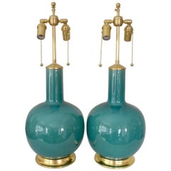 Pair of Teal Glazed Globular Form Ceramic Lamps on 23K Water Gilt Bases