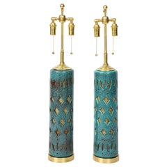 Pair of Teal Glazed Italian Ceramic Lamps