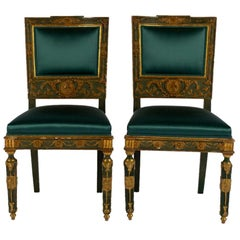 Pair of Teal Green Silk Satin French Empire Chairs
