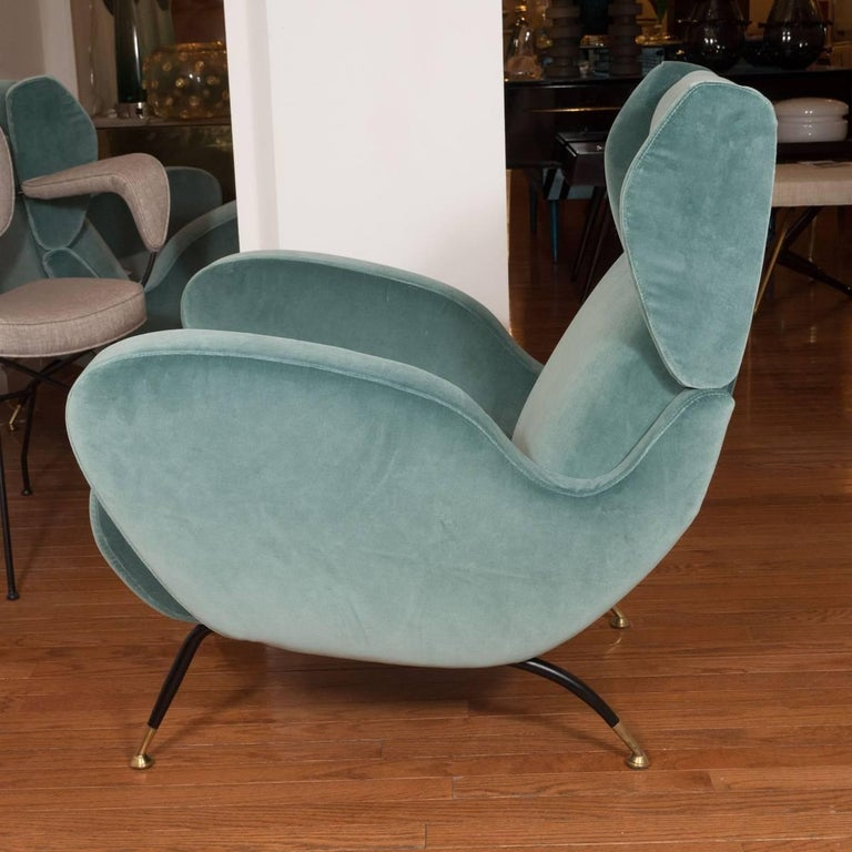 Mid-Century Modern Pair of Teal Upholstered Wingback Armchairs For Sale