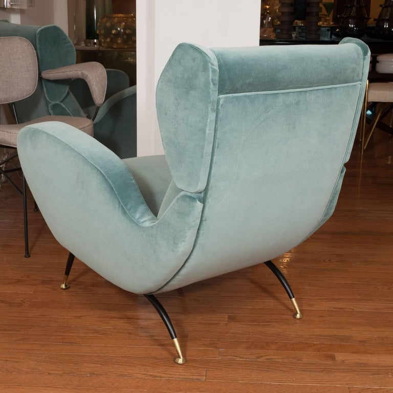 Italian Pair of Teal Upholstered Wingback Armchairs For Sale