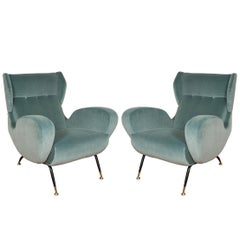 Pair of Teal Upholstered Wingback Armchairs
