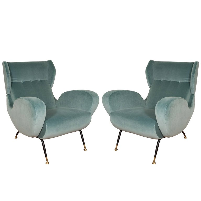 Pair of Teal Upholstered Wingback Armchairs For Sale