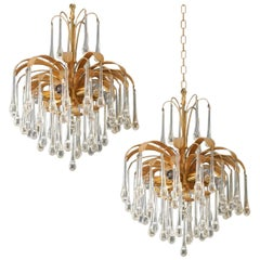 Pair of Tear Drop Glass 6-Light Chandeliers, Pendant Lights Palwa, 1960s
