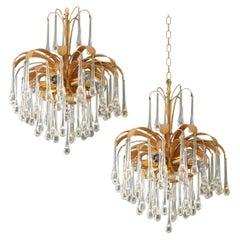 Pair of Tear Drop Glass 6-Light Chandeliers, Pendant Lights Palwa, 1960s