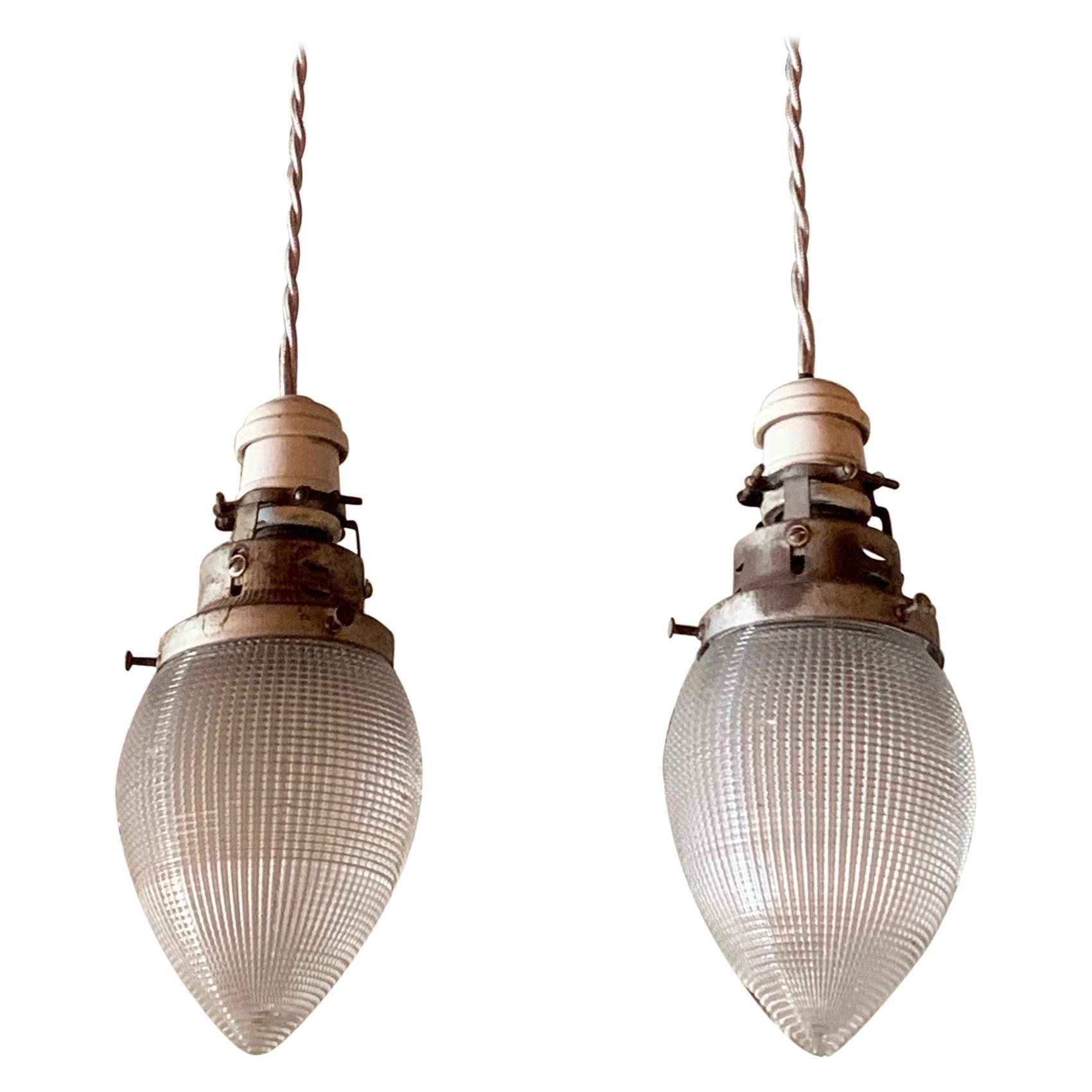 Pair of Teardrop Shape Prismatic Holophane Glass Pendant Lights