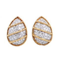 Pair of Teardrop Shaped Diamond and Gold Earrings