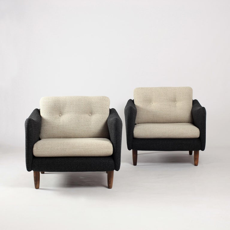 Mid-Century Modern Pair of Teckel Armchairs by Michel Mortier for Steiner, France, 1960s For Sale