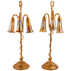 """Pair of Telescopic """"Three-Light Lily"""" Table Lamps by, Tiffany Studios"""