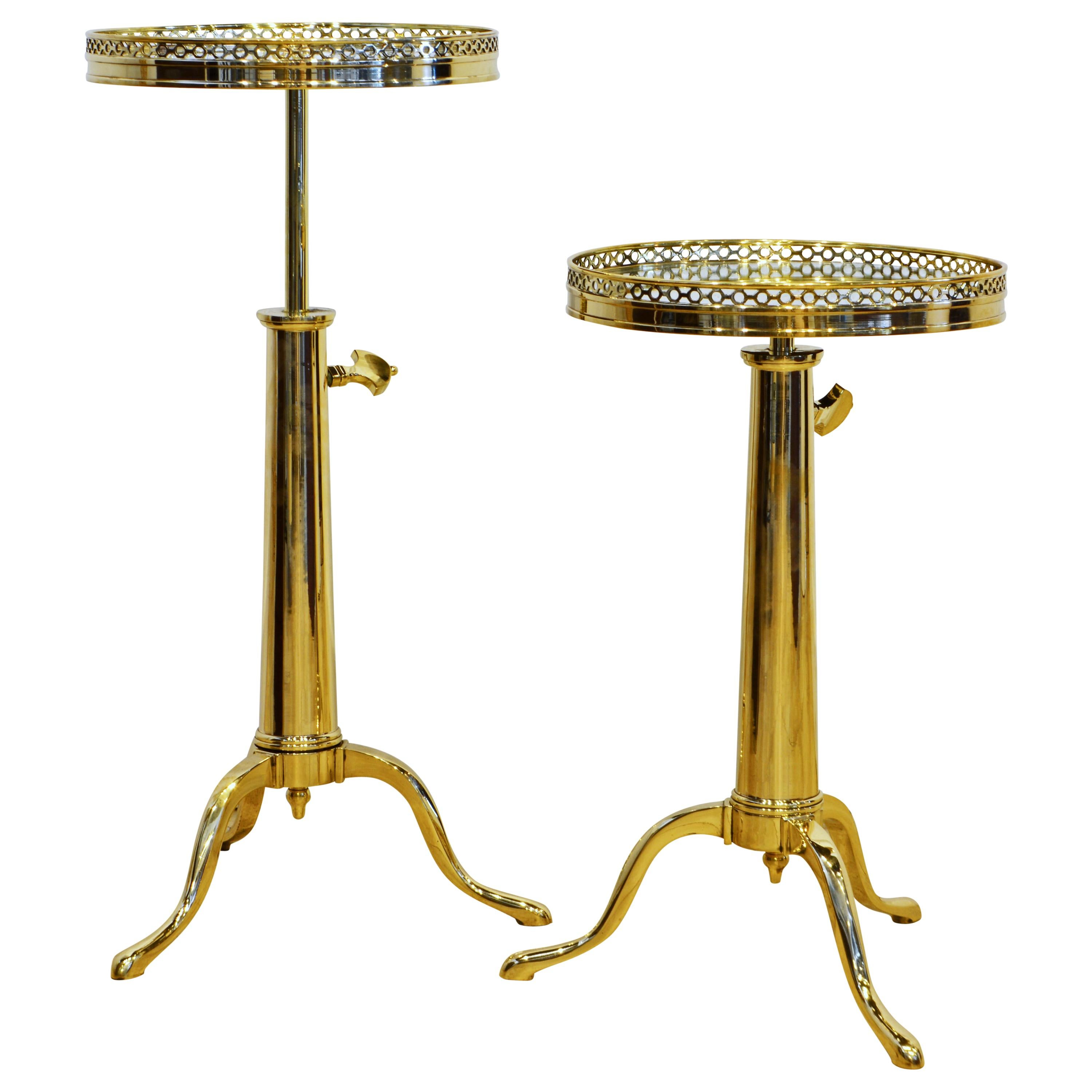 Pair of Telescoping Mirror Top Brass Occasional Tables by Maison Toulouse, Paris