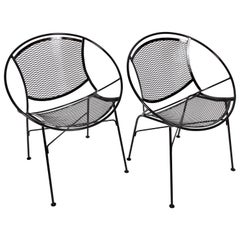 "Pair of Tempestini for Salterini ""Radar"" Black Enamel Iron Chairs, 1950s"